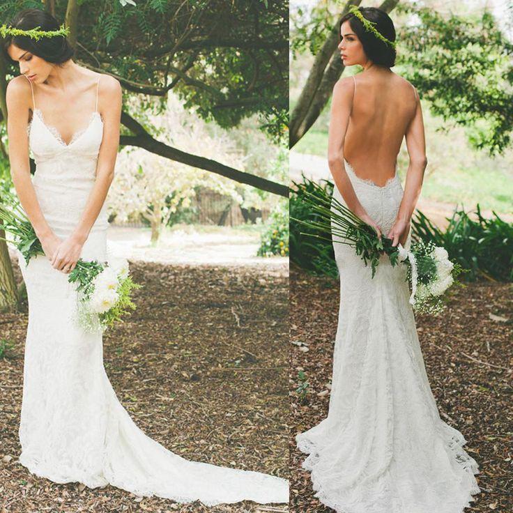 Aliexpress.com : Buy 2017 Sexy Backless Spring Wedding Dresses Lace Spaghetti Sheath Garden Beac ...