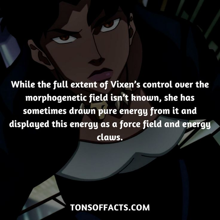 While the full extent of Vixen's control over the morphogenetic field isn't known, she has sometimes drawn pure energy from it and displayed this energy as a force field and energy claws. #vixen #tvshow #justiceleague #comics #dccomics #interesting #fact #facts #trivia #superheroes #memes #1 #movies
