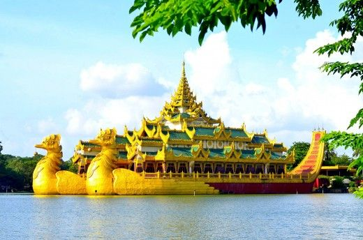 The Royal Barge or The Karaweik is a famous building on the lake in the middle of Yangon, Myanmar. #karaweik #yangon #burma #myanmar