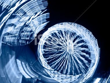 Blue Ferris Wheel at Night by E.Sezer