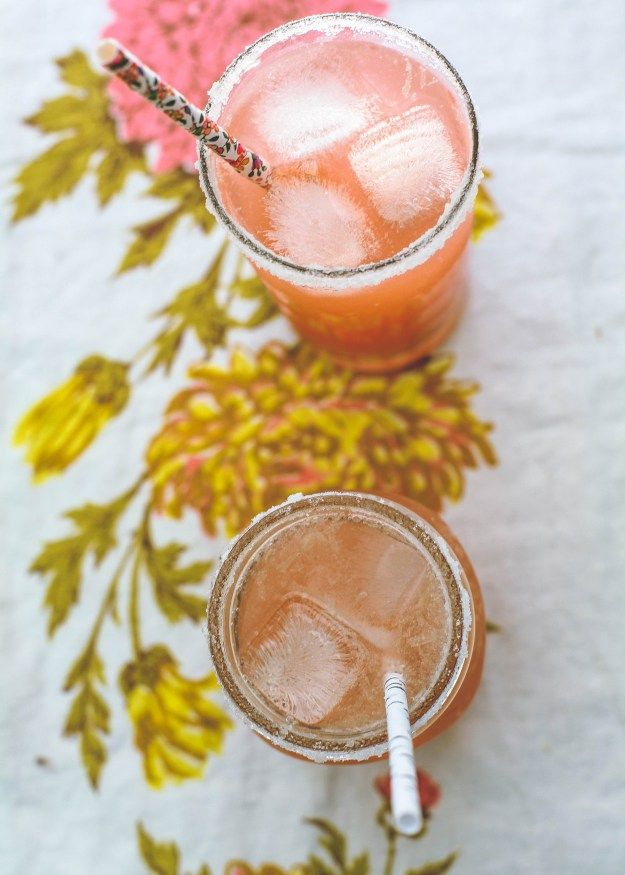 St. Germain grapefruit margarita in a mason jar with a sugar/salt rim. Perfection.