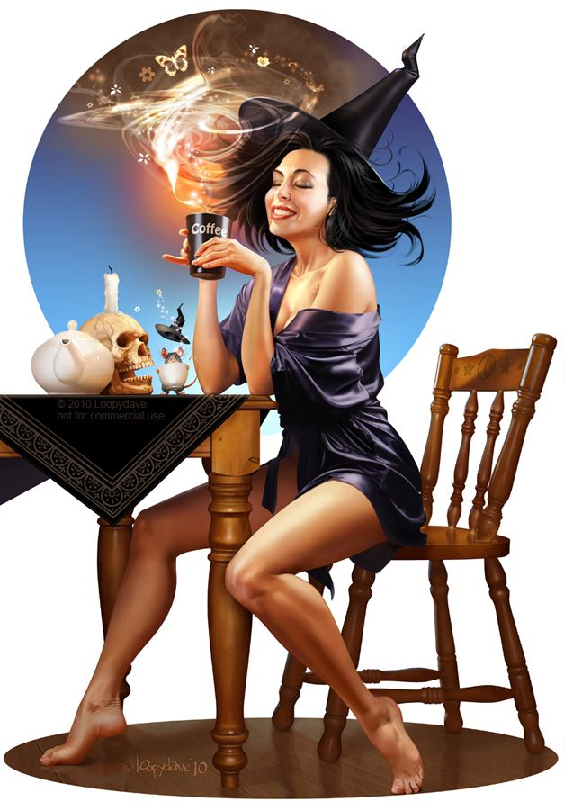 Amazing illustrationThe Artists, Cups Of Coffe, Witchy, Mornings Coffe, Pin Up Art, Kitchens Witches, Science Fiction Art, Halloween, Witches Brew