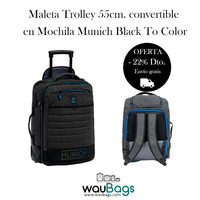 La Maleta Trolley convertible en Mochila Munich Black To Color de 55 cms. puede llevarse en la espalda como una mochila y tambien la puedes usar como una maleta gracias a su trolley extensible que permite llevarla cómodamente!  Dispone de varios compartimentos con cierre de cremallera y bolsillo frontal, además de un compartimento trasero para guardar los tirantes.  @waubags#munich #trolley #maleta #mochila #viaje #descuent