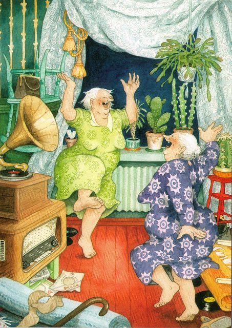 """Inge Look.  Lets all grow old with this attitude.   """"Come on Myrna lets live it up and have a great time.  Whee, we are having such fun.""""  B."""