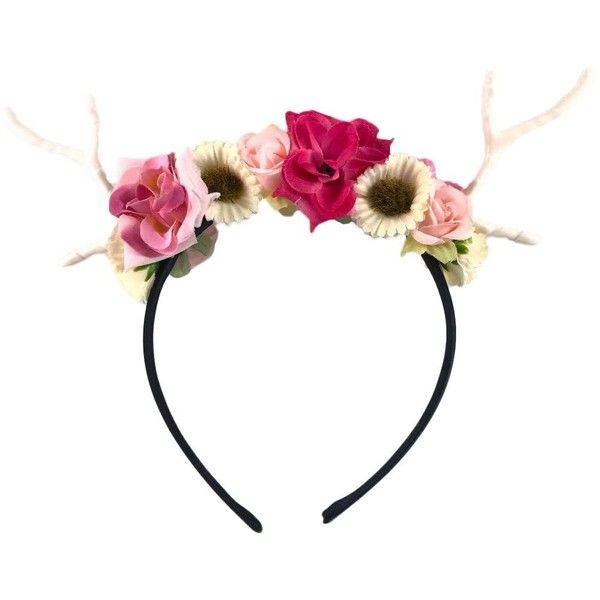 Dreampixie Deer Antler Flower Headband ($23) ❤ liked on Polyvore featuring accessories, hair accessories, flower hair accessories, flower headbands, head wrap headband, deer headband and hair band headband