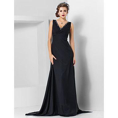 Mothers dress Sheath/Column V-neck Sweep/Brush Train Chiffon Evening Dress  – USD $ 129.99
