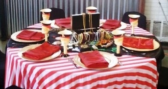 Pirate party treasure chest, Pirate party ideas, pirate party centerpieces, pirate party decorations, pirate party rentals, pirate party tablecloths, pirate party table set up, kid sized party tables and chairs, kids party rental, www.themesforkidspartyrental.com in Orange County, Costa Mesa, CA