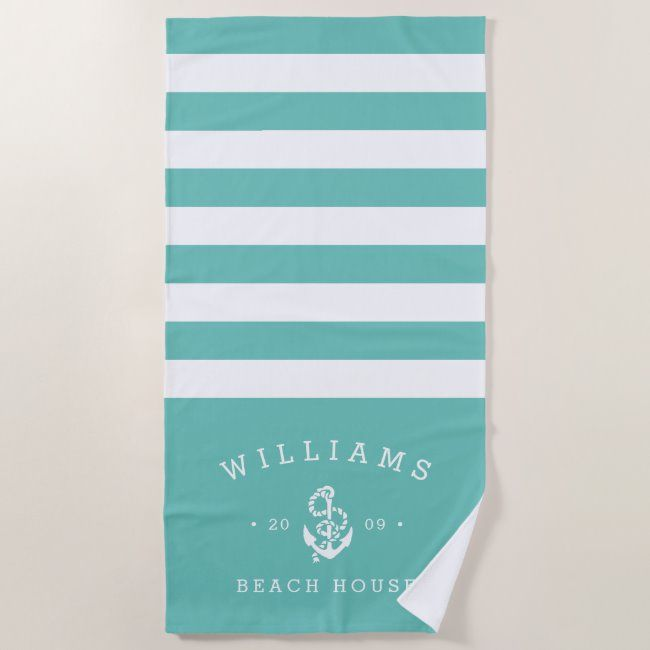 Turquoise Stripe Personalized Beach House Beach Towel