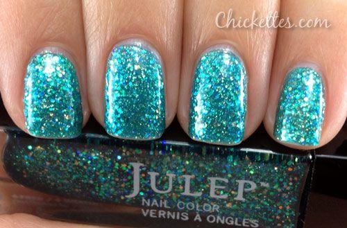 Julep Harper  Full-coverage opalescent mermaid blue multi-dimensional glitter