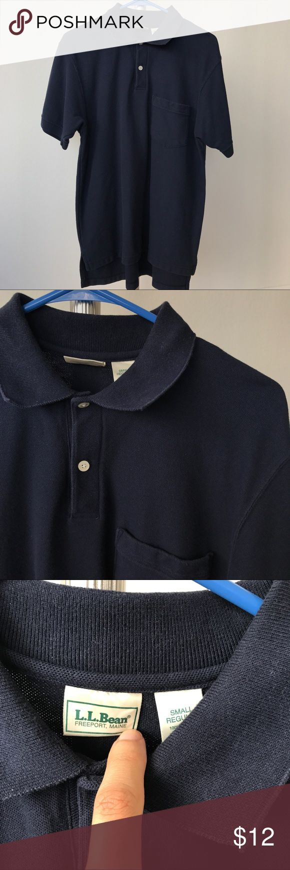 LL Bean Navy Blue Polo Shirt Men's Small Signs of general wear, but good quality. 100% Cotton Size: Small L.L. Bean Shirts Polos