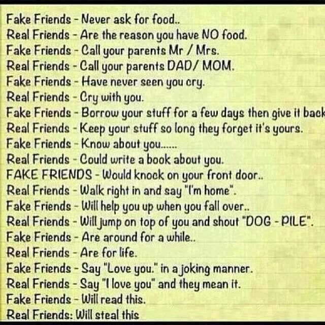 Real Friends And Fake Friends Quotes