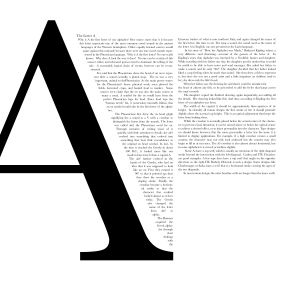 I like the text layout, bold letter and then little paragraphs. Usually used for a double-page spread.