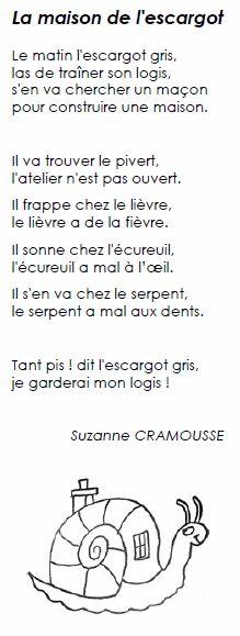 Voici une poésie d'automne, écrite par Suzanne Cramousse, « la maison de l'escargot ». Le matin, l'escargot gris Las de traîner son logis