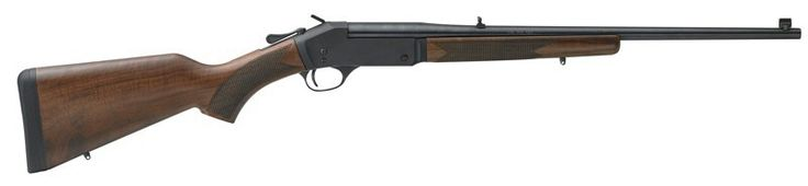 """Aseries of single-shot center-fire rifles include initial offerings with a blued steel receiver or a hardened brass receiver, in calibers.44 Mag., .45-70, .223, .243, and .308 with a 22"""" round blued steel barrel."""