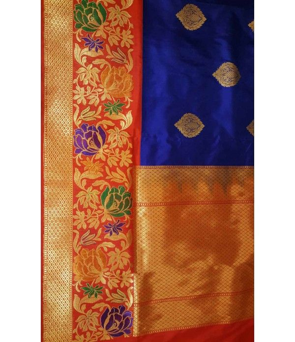 Blue Banarasi Handloom Silk Saree with Meenakari work