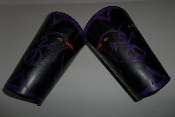 Leather Half Bracers  Purple on Black Twin Ravens by WolfandHammer, $45.00