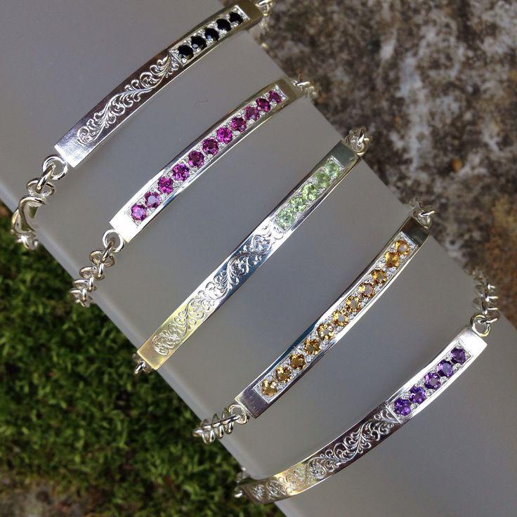 Sterling Silver & Gemstone Engraved Bracelets, fabricated