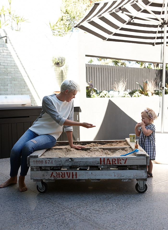 pallet sandbox on castors - Super Awesome Idea! DustyJunk.com has tons of pallets for sale #pallet #palletfurniture #outdoorpallet