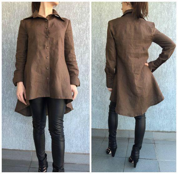 Asymmetrical Loose Shirt / Long Sleeves Tunic Dress / Loose Maxi Blouse  / Oversize Linen Top / EXPRESS SHIPPING