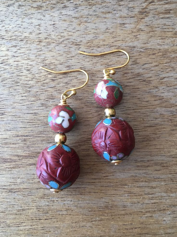 Cinnabar Earrings, Vintage Chinese Floral Cloisonné Bead and Carved Cinnabar Lacquer with Cloisonne Bead from the 70's Earrings by RitaCollection on Etsy