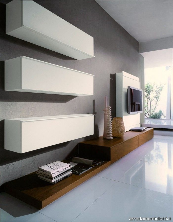 Wall system Link in walnut and white laquered - DIOTTI A&F Italian Furniture and Interior Design