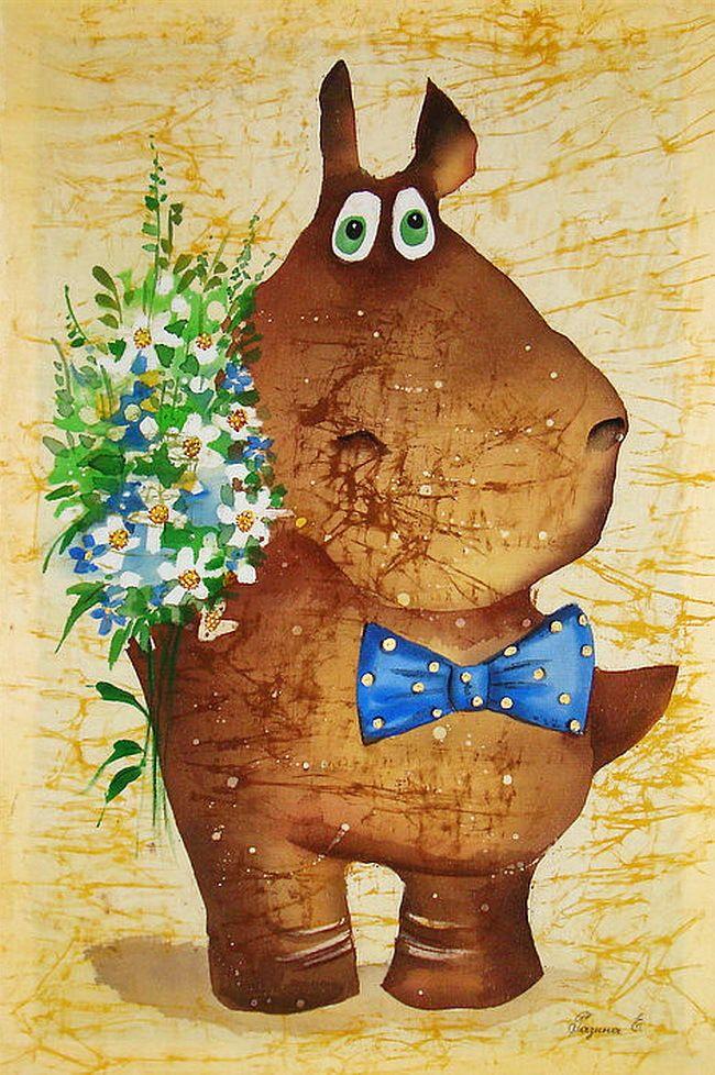 Картинка бегемот с цветами