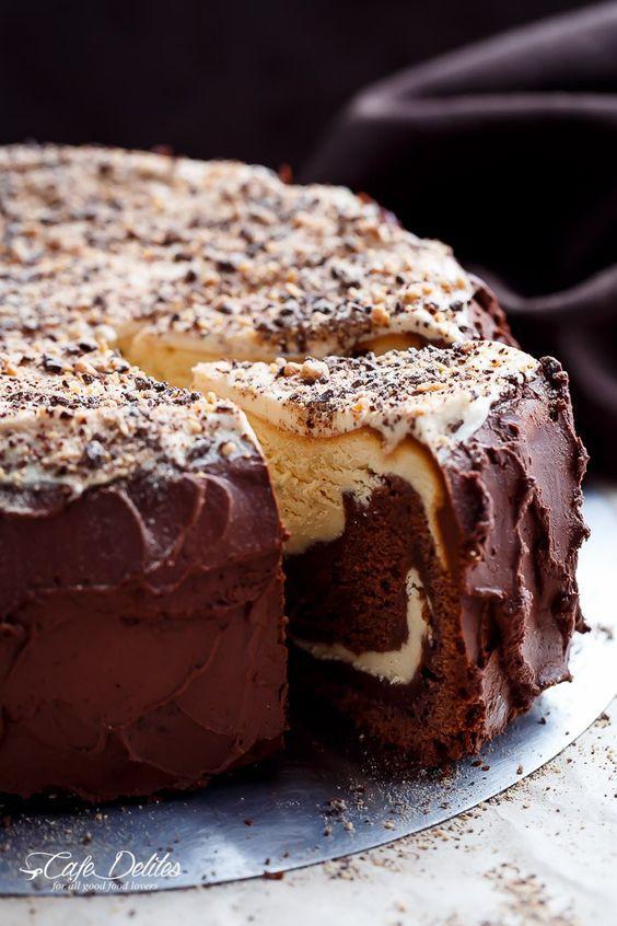 Chocolate Peanut Butter Cheesecake Cake.