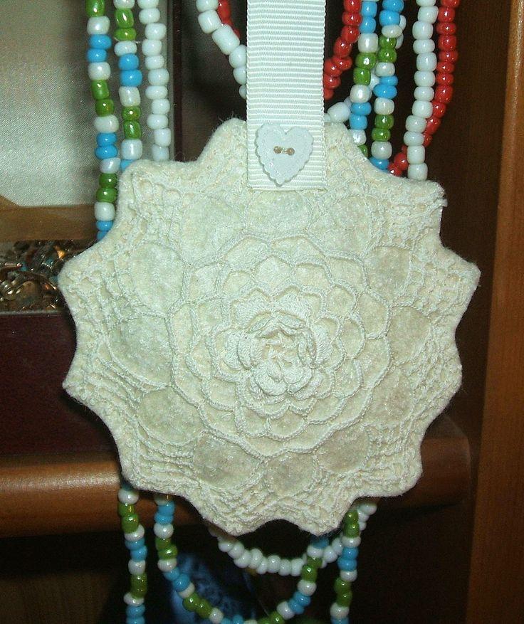 Lavander pillow with antique lace