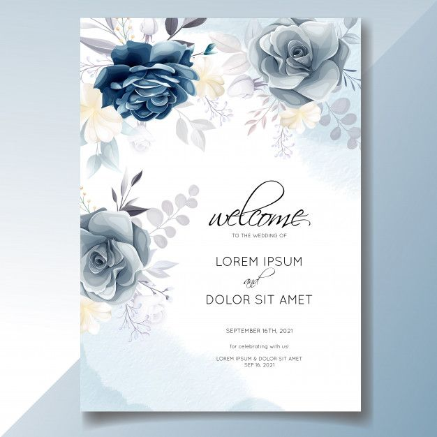 Navy Blue Floral Wedding Invitation Card Template With Golden Leaves And Watercolor Frame Floral Wedding Invitations Floral Wedding Invitation Card Wedding Invitation Cards