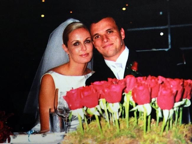 Charlotte Dawson pictured with former husband Scott Miller on her wedding day.
