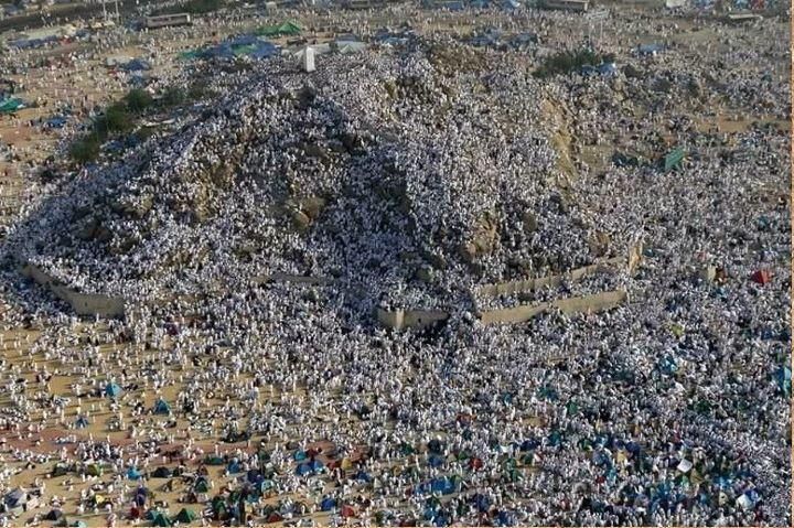 A sea of humanity in piety.  At dawn of today,(Day Of Arafat) Muslim pilgrims will make their way from Mina to a nearby hillside and plain called Mount Arafa and the Plain of Arafa. It was from this site that Muhammad (Peace Be Upon Him) gave his famous Farewell Sermon during Hajj(Pilgrimage)  in his final year of life.
