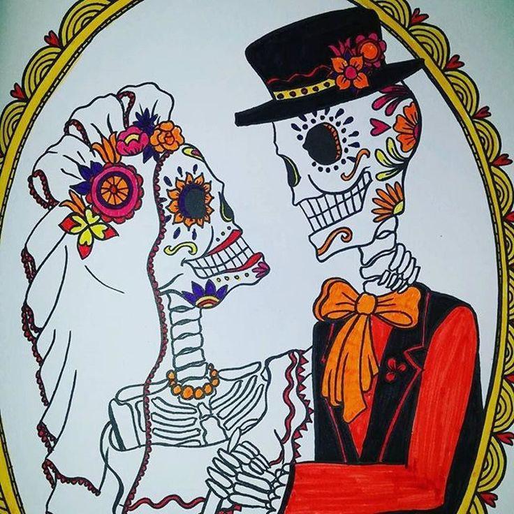#Repost @petrasiru with @repostapp  #koristekallot #adultcoloringbook #skull #skeletons #aikuistenvärityskirja #weddingcouple #wedding #hääpari #häät #luurangot #pääkallo #friday #perjantai