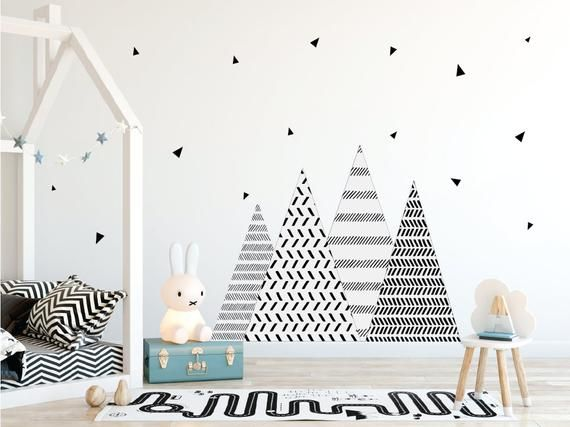Nursery Wall Decals Mountain Wall Decal Triangle Wall Etsy In 2020 Nursery Wall Decals Mountain Wall Decal Wall Decals