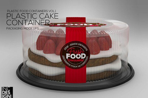 Plastic Cake Container Mock Up by INC Design on @creativemarket
