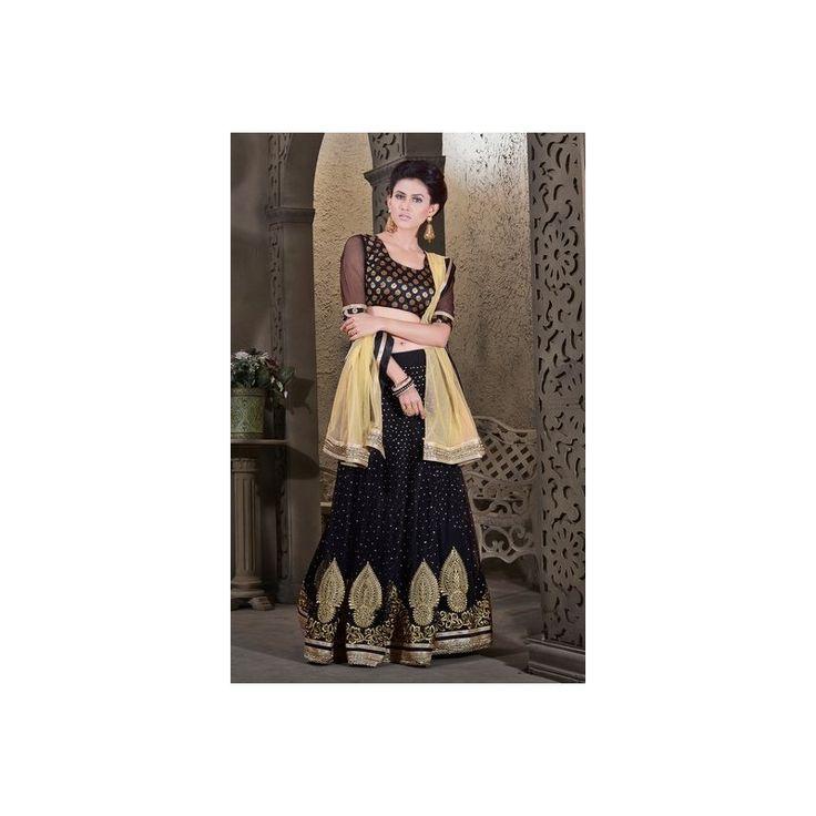 Viva N Diva Black Color Net #Lehenga #onlineshopping http://goo.gl/U0bAUH