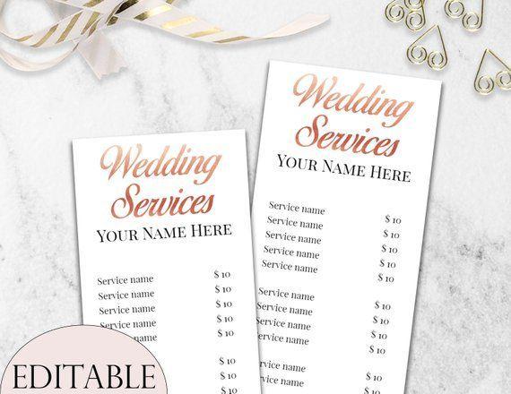Weddings Services Price List Template Editable Wedding Services Price List Rose Gold Price List Wed Makeup Prices Makeup Price List Beauty Salon Price List