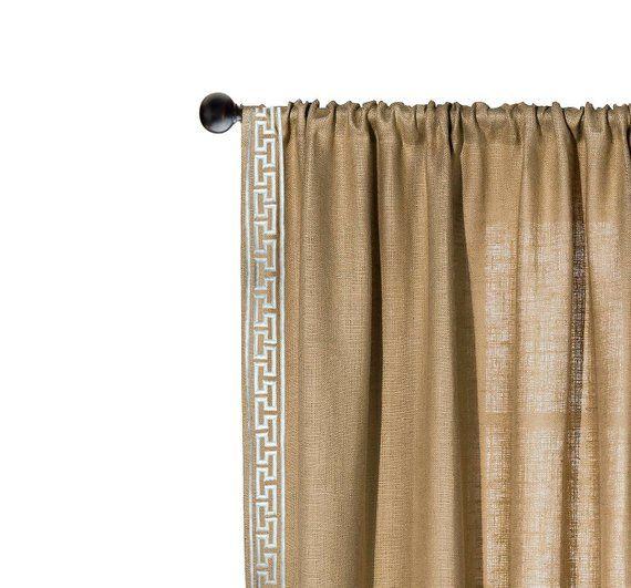 Rustic Curtains Burlap Curtain Drapes Greek Key Embroidery