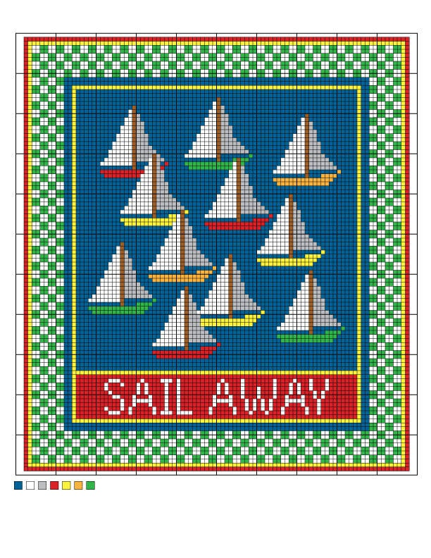 Sail Away Needlepoint Charted Pattern / From Cheryl Fall, former About.com Guide