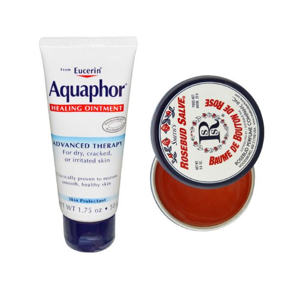 """- """"I've been using Rosebud salve on my lips since the beginning of time! I mix a little into my lipstick when I want the color to stay for several hours. I also always keep Aquaphor in my handbag for chapped lips or dry nostrils."""""""