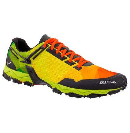 Chaussure Salewa Lite Train orange, vert et jaune. Pratique activités sportive en montage, randonnée, running, marche active. Disponible dans la boutique de Cottay Shop, le professionnel de la montagne depuis plus de 10 ans !