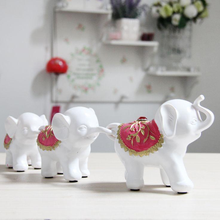Небольшие белые украшения дома слон семья творческого ремесла новоселье подарок смолы украшения три небольшие фигурки слона