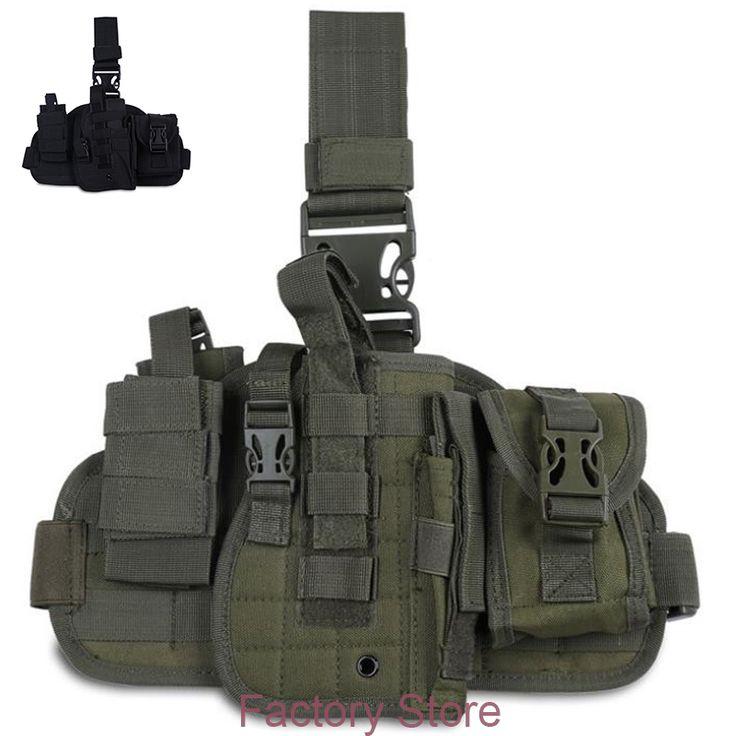 Tactical Nylon Pistol Leg Holster IPSC Paintball Molle Thigh Gun Holsters For 1911 M9  M92 HK USP P226 Universal Gun Type Green