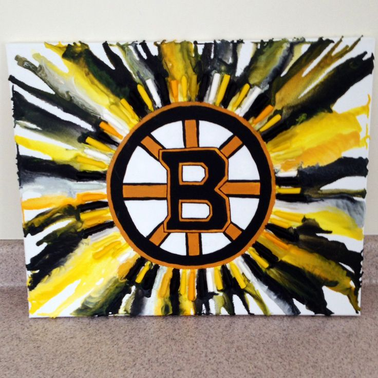 Melted crayon art featuring the Boston Bruins logo but can be modified with anything in the center. I painted the logo freehand but a stencil or print would save time. Superglue the peeled crayons around it and use a hair dryer to melt. One of my favorite crafts by far!