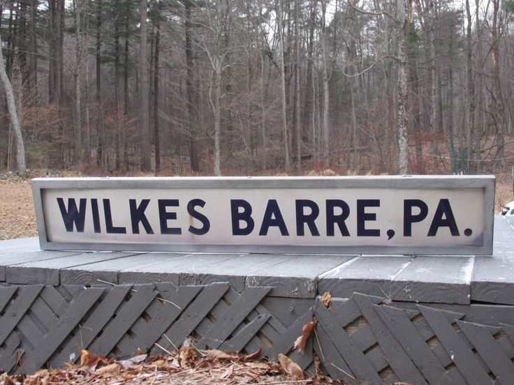 Vintage Porcelain Sign Wilkes-barre, Pa Bus Train Stop With Brackets