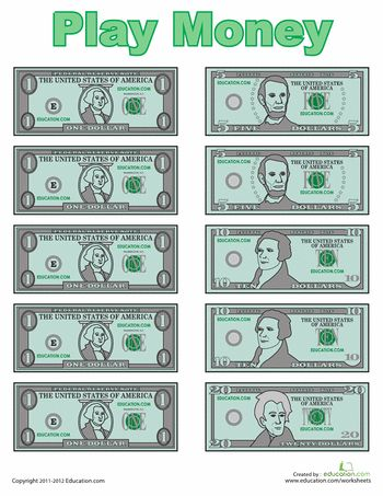 Worksheets: Play money http://www.education.com/files/268601_268700/268668/play-money.pdf