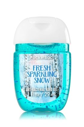 Fresh Sparkling Snow - PocketBac Sanitizing Hand Gel - Bath & Body Works - Now with more happy! Our NEW PocketBac is perfectly shaped for pockets & purses, making it easy to kill 99.9% of germs when you're on-the-go! New, skin-softening formula conditions with Aloe & Vitamin E to leave your hands feeling soft and clean.