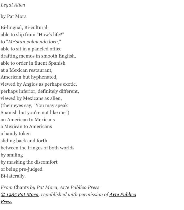 Mexican American and Poem Legal Alien Essay