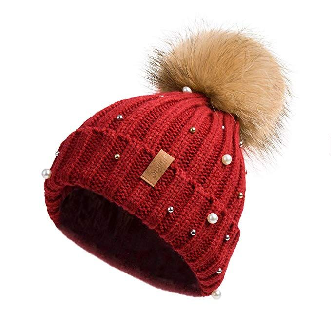 20dc652a Pilipala Women Knit Winter Turn up Beanie Hat by with Pearl and Fur ...