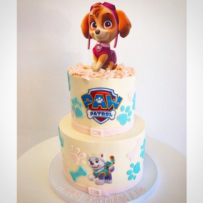 Paw Patrol Sky Fondant Sugar Sculpted Tiered Stacked Cake by Fluffy Thoughts Cakes