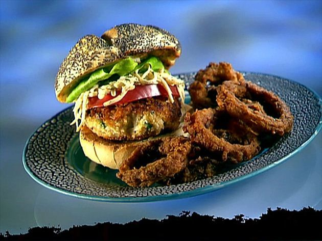 Get Crab Burgers with Celery Root Remoulade Slaw Recipe from Food Network